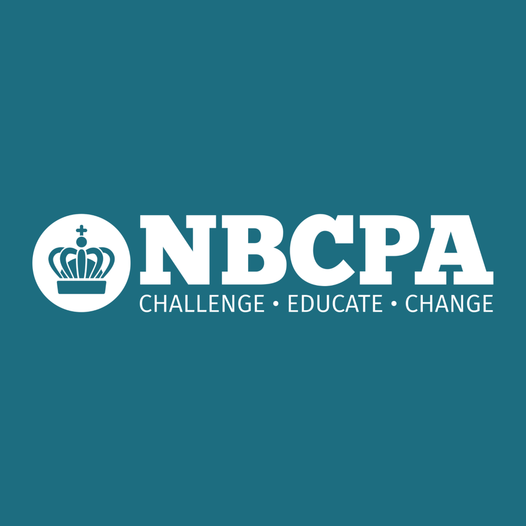 White NBCPA logo on coloured background
